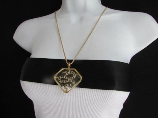 Other Women Gold Metal Chains Fashion Necklace Big Snake Pendant Silver Rhinestones