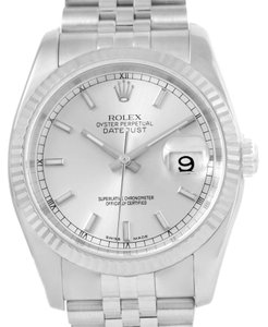 Rolex Rolex Datejust Steel 18K White Gold Silver Baton Dial Watch 116234