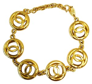 Chanel #8459 Multi charm CC gold Cuff Bracelet Bangle