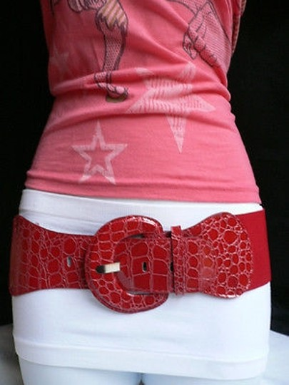 Other B Women Red Belt Hip Elastic High Waist Plus Chic Style Fit