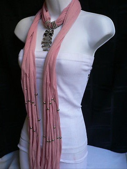 Other Women Pink Soft Scarf Necklace Casual Silver Metal Owl Pendant Black Beads