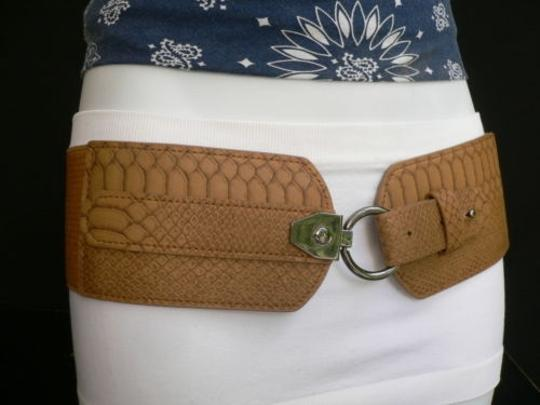 Other Women Hip Waist Elastic Brown Faux Snake Skin Stamp Fashion Belt 27-35