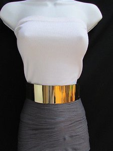 Other Women Belt High Waist Band Hip 2.3 Wide Gold Metal Fashion Shiny Bling Elastic