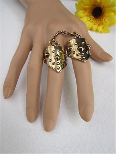 Other Women Rusty Gold Metal Conneced Chain Trendy Fashion Fingers Ring
