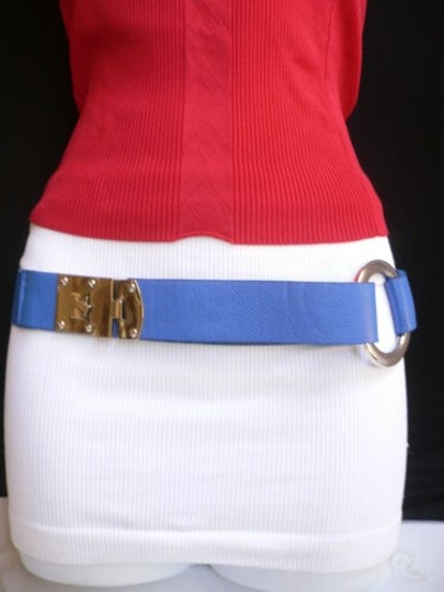 Other Women Hip Elastic Blue Fashion Belt Silver Metal Round Buckles 29-35 Sm