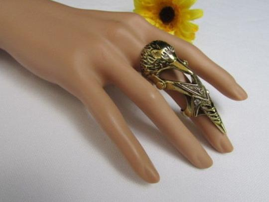 Other Women Antique Rusty Gold Metal Bird Head 2.5 Long Trendy Fashion Elastic Ring