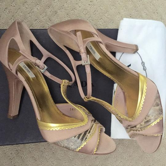 Prada Dusty pink with gold, and tan accents Pumps