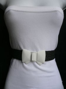 Women Elastic Hip Waist Black Straw Fashion Belt Big White Bow 25-34 -
