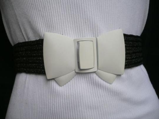 Other Women Elastic Hip Waist Black Straw Fashion Belt Big White Bow 25-34 -