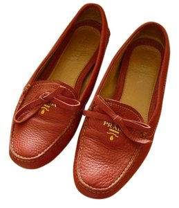 Prada Leather Red Flats
