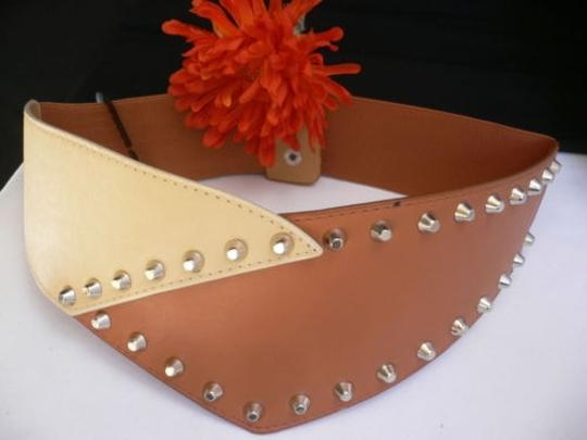 Other Women Elastic Hip Waist Brown Beige Wide Western Belt Spikes 28-36 Sml