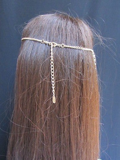 Other Women Gold Metal Long Head Chain Imitation Pearl Beads Fashion Jewelry