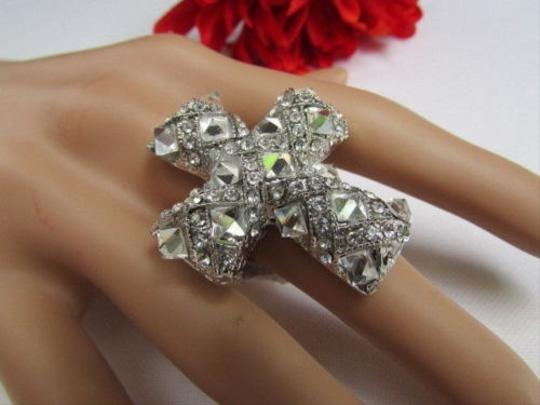 Other Women Silver Metal Rhinestones Beads Big Cross Ring Elastic Fit All