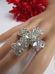 Women Silver Metal Rhinestones Beads Big Cross Fashion Ring Elastic Fit All