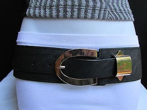 Women Waist Hip Elastic Black Fashion Belt Gold Metal Buckle 25-33
