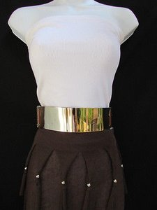 Women Waist Hip Wide Gold Metal Plate Fashion Belt Brown Elastic 27-40