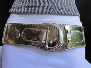 Other Women Elastic Waist Hip Silver Faux Patent Leather Fashion Belt 27-36 S-l