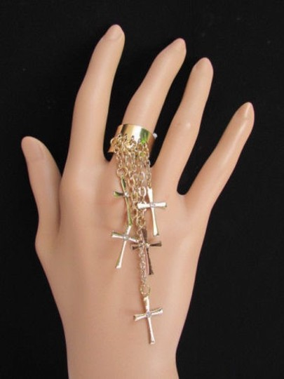 Other Casual Women Gold Metal Multi Crosses Fashion Ring Elastic One Fits All