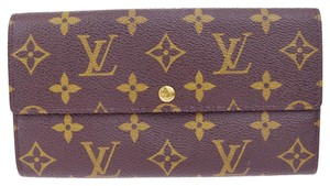 Louis Vuitton Sarah Credit Long Bifold Wallet Purse Monogram Brown M61725
