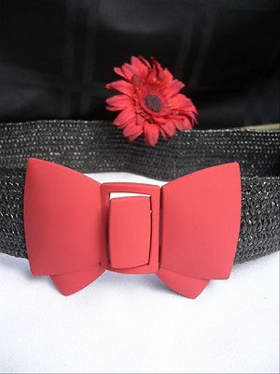 Other Women Elastic Hip Waist Black Straw Fashion Belt Red Mate Bow 25-35 Small