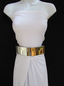 Other Women Waist Hip Gold Metal Plate Fashion Belt Dark Brown Elastic 27-40
