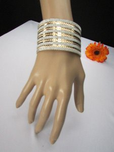 Other Women Gold Metal Cuff Fashion Bracelet Horizontal Silver Glitter