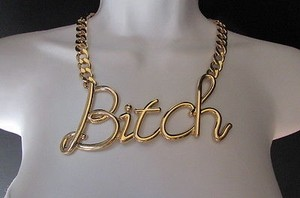 Women Gold Metal Chains Fashion Wide Necklace Bitch Big Chunky Pendant