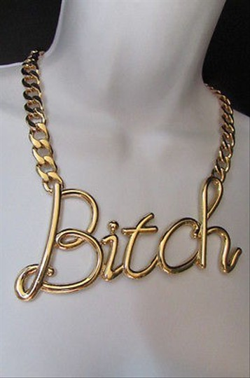 Other Women Gold Metal Chains Fashion Wide Necklace Bitch Big Chunky Pendant