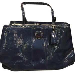 Coach Patent Leather Tote in Navy Blue