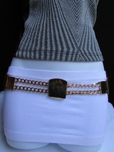 Other Women Elastic Waist Hip Brown Fashion Belt Gold Chain Buckle 29-35