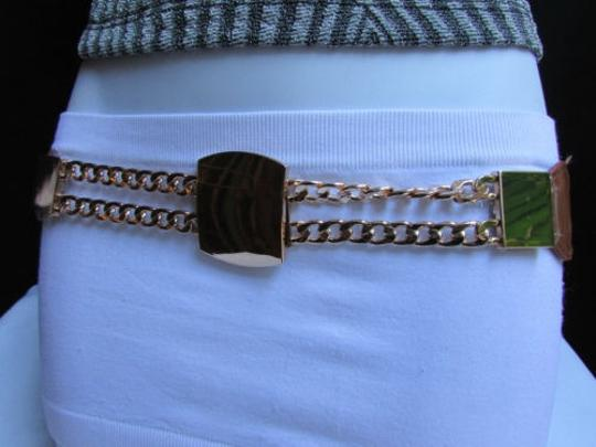 Other Women Elastic Waist Hip Brown Fashion Belt Gold Chain Buckle