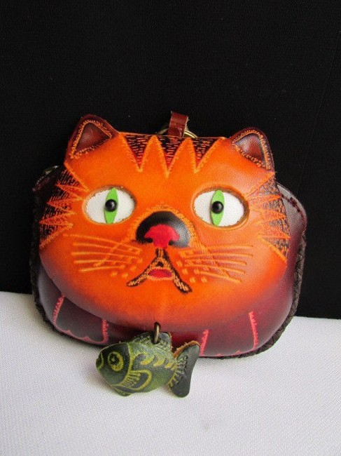 Item - Women Brown Cat Fish Purse Coin Bag Key Chain Genuine Leather Wallet