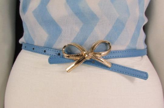 Other Women White Beige Blue Thin Leather Fashion Belt Gold Bow Buckle
