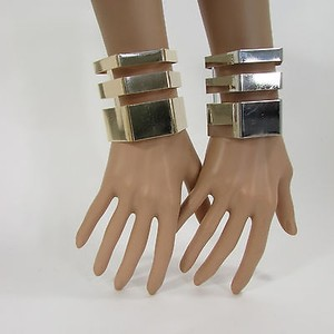 Other Women Jewelry Cutout Wide Cuff Bracelet Hand Silver Gold Geometric
