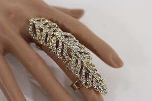 Women Gold Metal Big Long Knuckle Leaves Adjustable Ring Rhinestone One
