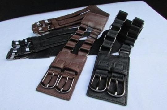 Other Women Hip Waist Faux Leather Belt Buckles Black Brown