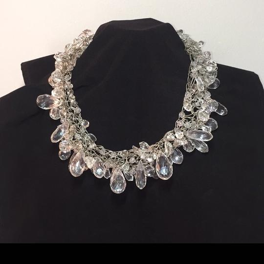 Other Necklace - HAND CRAFTED COLLAR OF CRYSTALS ON KNITTED SILVER WIRE NEW