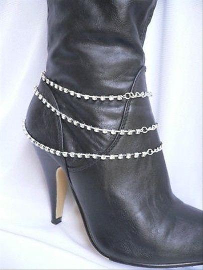 Other Women Silver Metal Strands Boot Chain 3 Rhinestones Rows Western Shoe Strap