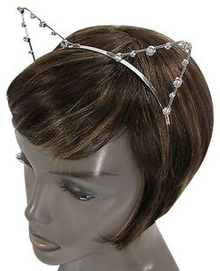 Women Head Band Silver Metal Fashion Small Ears Silver Rhinestones Beads Cat