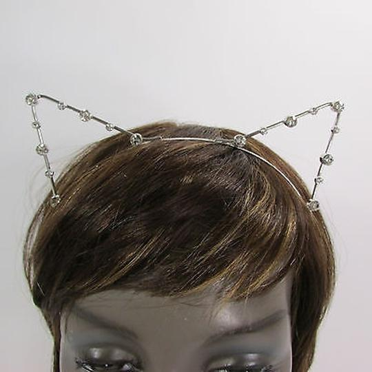 Other Women Head Band Silver Small Ears Silver Rhinestones Beads Cat