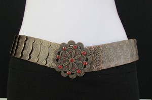 Other Women Hip Waist Brown Elastic Metal Fashion Belt Red Rhinestones 28-36