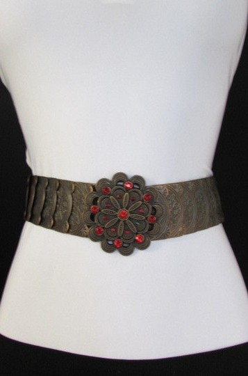 Other Women Hip Waist Brown Elastic Metal Fashion Belt Red Rhinestones