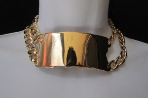 Other Women Fashion Necklace Big Gold Metal Plate Pendant Chunky Tick Chain Elegant