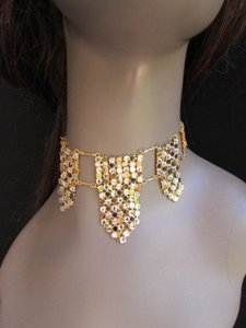 Other Women Gold Mesh Metal Chocker Necklace Fashion Trendy Clear Rhinestones