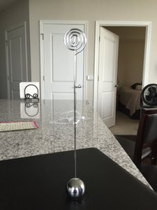 Tall Silver Table Number/picture Holders With Weighted Base