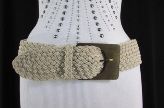 Other Women Black Off White Hip Waist Fashion Belt Brown Wood Buckle 27-35