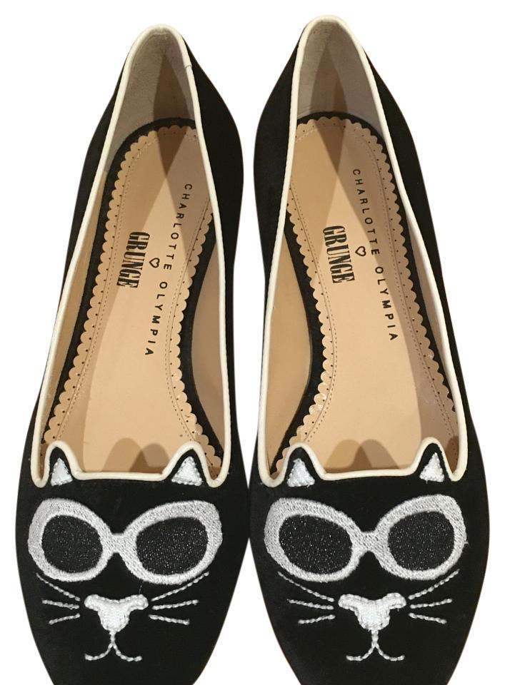 charlotte olympia black grunge kitty flats on sale 36 off flats on sale. Black Bedroom Furniture Sets. Home Design Ideas