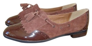 Nina Wingtip Kiltie Loafer Patent Leather Brown Flats