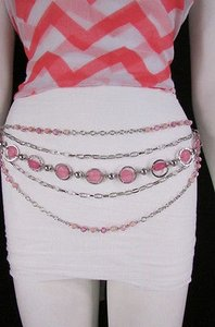 Other Women Pink Beads Silver Metal Strands Fashion Belt Hip Waist 20-40