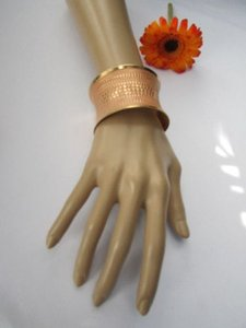 Other Women Wide Gold Metal Cuff Fashion Bracelet Lightweight Peach Pink Polka Dot